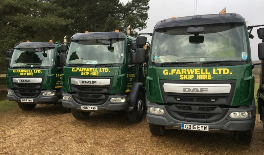 Farwell's fleet of skip hire vehicles
