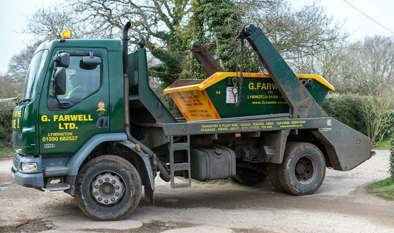 farwells skip hire company in lymington hampshire