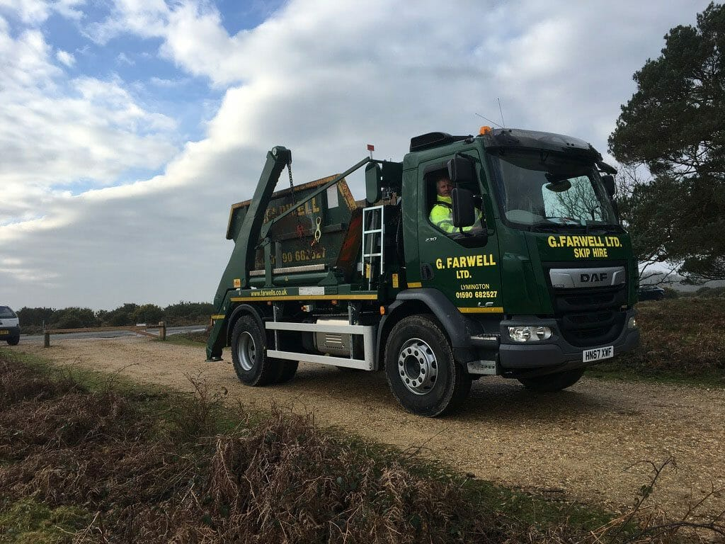 skip hire lorry in the new forest