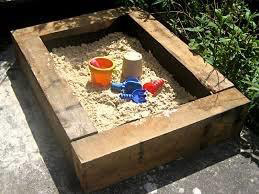 sleepers made into a sand pit box